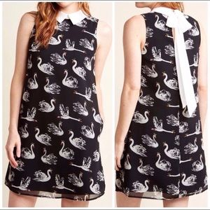 ModCloth Novelty Swan Tie Back Collar Shift Dress